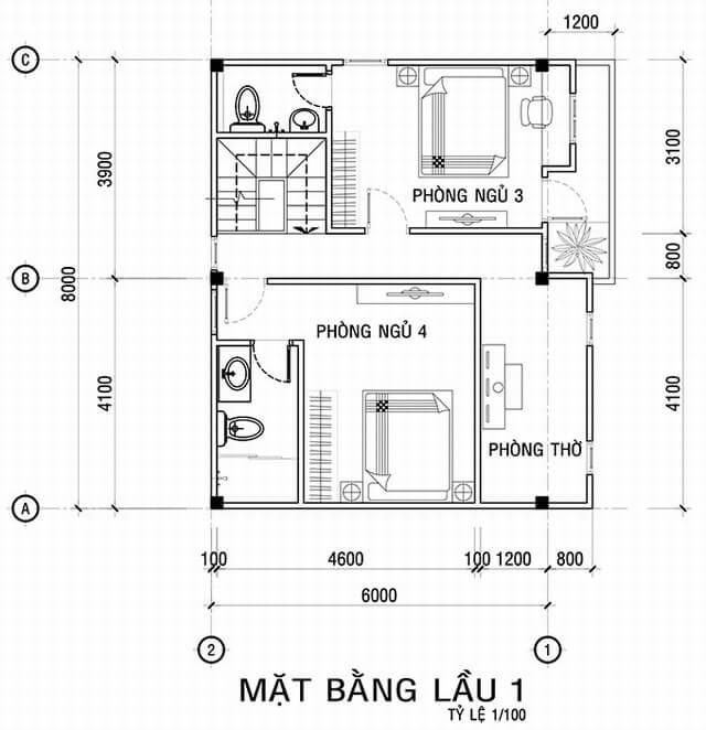 Mặt bằng thiết kế tầng 2 trong Mẫu nhà đẹp 3 tầng với nhiều phòng riêng tư sang trọng trang nhã