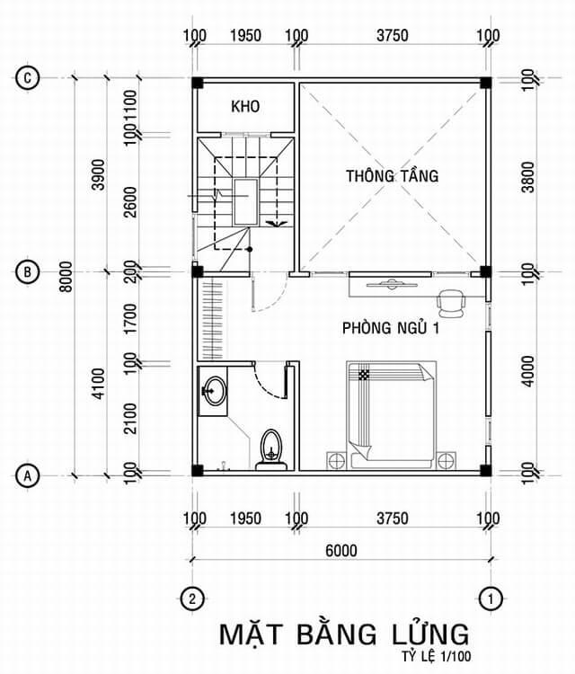 Mặt bằng thiết kế tầng 3 tầng lửng trong Mẫu nhà đẹp 3 tầng với nhiều phòng riêng tư sang trọng trang nhã
