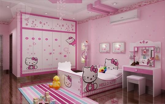 Căn phòng màu hồng đáng yêu cho bé gái.