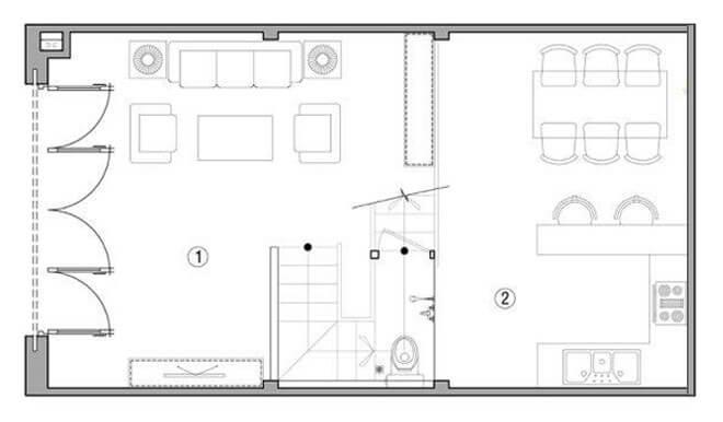 Mặt bằng bố trí nội thất nhà 35 M2