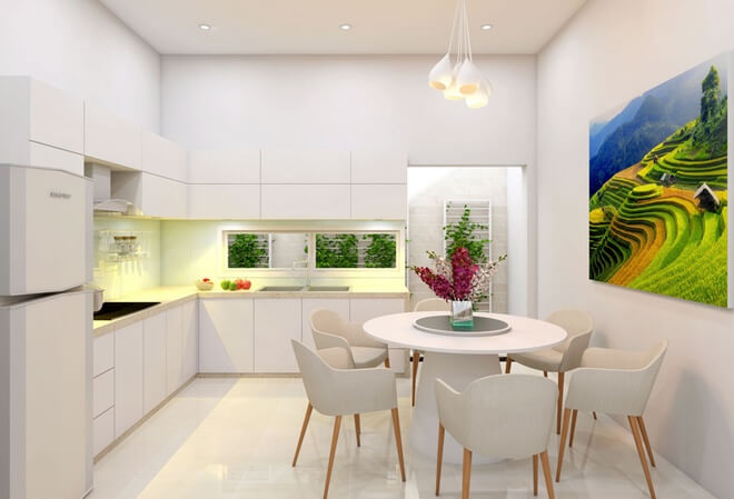 Phối cảnh xây phòng bếp nhà ống 3 tầng giá rẻ