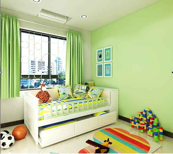 Trang trí phòng của bé với mầu xanh non kết hợp vàng cam ấn tượng