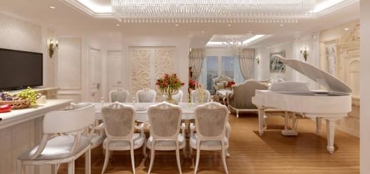 phòng bếp, phòng ăn và phòng khách liên hông với nhau rất khéo néo và trang trí có điểm nhấn ấn tựng bởi một chiếc đàn