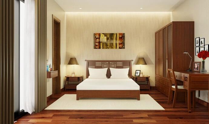 Sửa chữa phòng ngủ biệt thự bằng cách thiết kế bằng gỗ tự nhiên cao cấp.