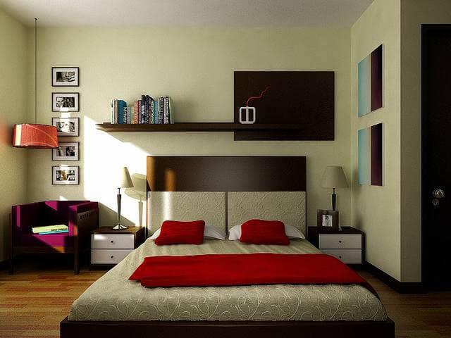 Phòng ngủ nhà ống chật hẹp sau khi sửa lại thêm các chi tiết màu đen và màu đỏ san hô