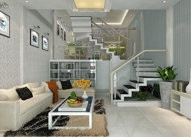 Các không gian được bố trí xen kẽ thông tầng theo cầu thang