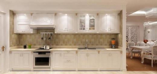 Căn bếp trang nhã lịch thiệp khi sử dụng gam màu trắng từ phòng bếp tới bàn ăn