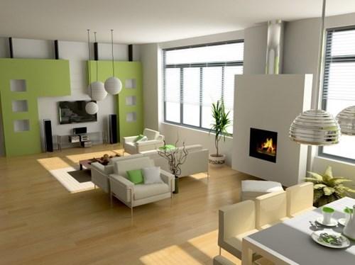 Bố trí đồ nội thất phù hợp với màu sơn phòng khách xanh lá cây