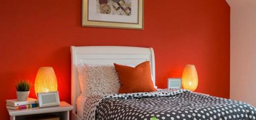 Đổi mới phong cách với phòng ngủ màu cam đồng