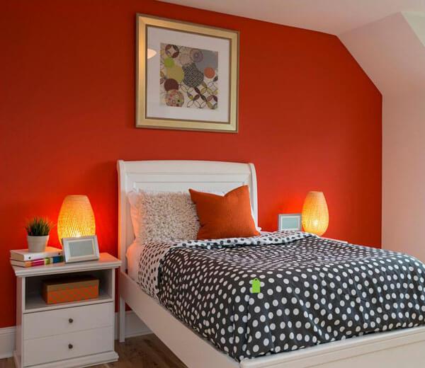 Đổi mới phong cách với sơn phòng ngủ màu cam đồng