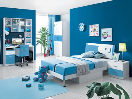 Dịch vụ sơn nhà gam màu xanh dương cho phòng ngủ