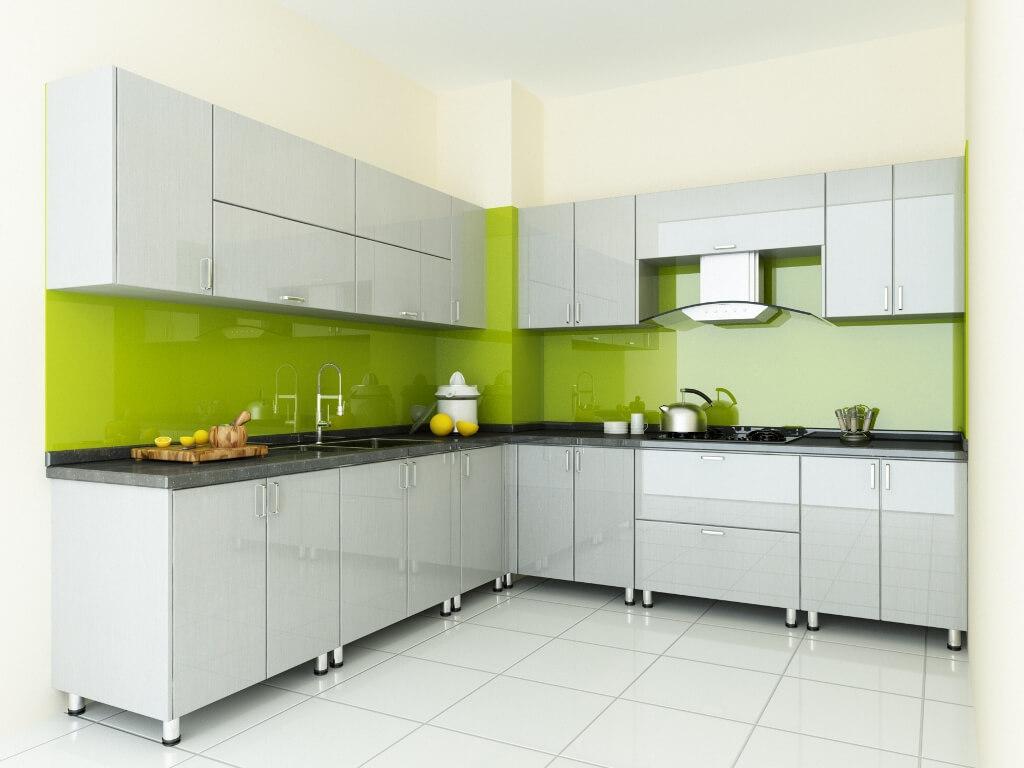 Sơn góc bếp đẹp với gam màu xanh và trắng cho không gian bếp