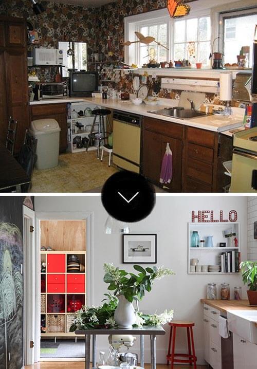 Hình ảnh căn bếp trước và sau khi Sửa căn bếp cũ kỹ trở nên như mới