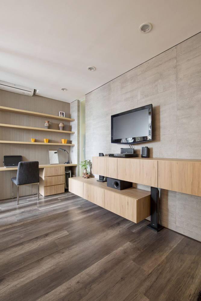 Kệ treo ti vi kết hợp với bàn làm việc đều bằng chất liệu gỗ khá hợp lý