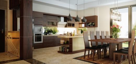 màu sắc hài hòa không gian bếp