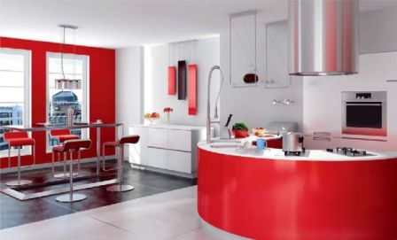 Mầu đỏ cho phòng bếp ấm áp hơn