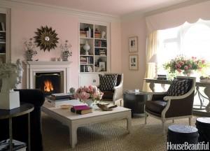 Lựa chọn màu sơn hồng phấn hứa hẹn cho phòng khách nhà bạn không gian nhẹ nhàng thư thái