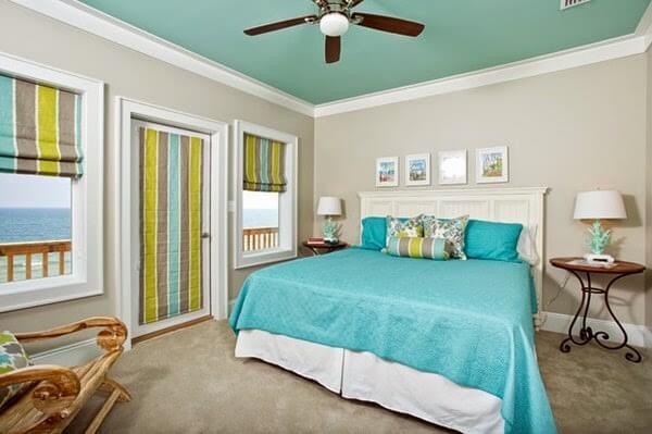 Màu sơn trần nhà đẹp với gam màu cho phòng ngủ xanh ngọc nhẹ nhàng