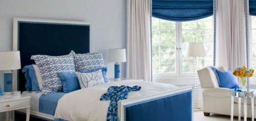 Sắc xanh tương phản với sắc trắng sau khi sửa chữa lại phòng ngủ