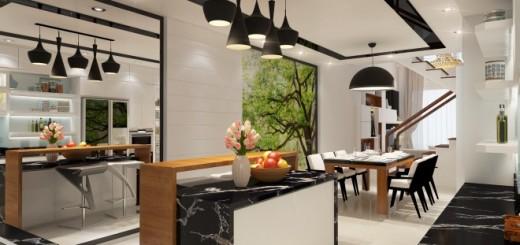 Phòng bếp trong căn nnhaf 4 tầng được tô điểm hai màu chủ đạo đen trắng trẻ trung