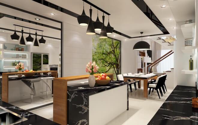 Phòng bếp trong căn nhà 4 tầng được tô điểm hai màu chủ đạo đen trắng trẻ trung sau khi Sửa chữa nhà 4 tầng 70m2 cho 5 người ở