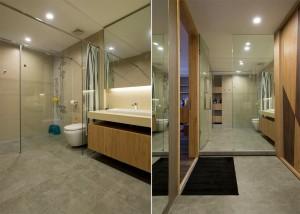 nhà tắm kết hợp hài hòa giũa gạch bê tông kính và chất liệu gỗ