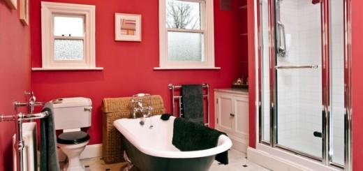 Phối hợp ăn ý màu đỏ cho phòng tắm