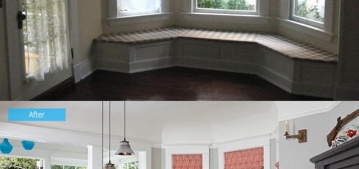 phòng ăn của ngôi nhà trước và sau khi sửa chữa