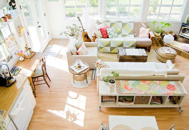Phòng khách đẹp dịu dàng với phòng khách có màu sắc dịu