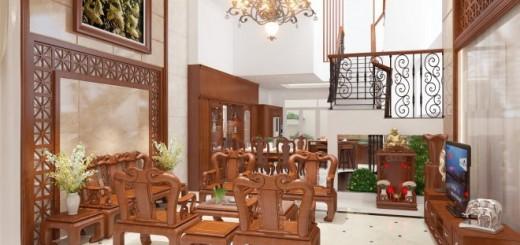 phòng khách có nội thất gỗ với hoa văn nhẹ nhàng
