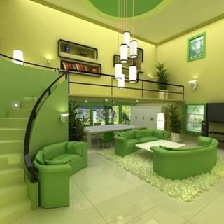 Phòng khách với họa tiết màu xanh lá