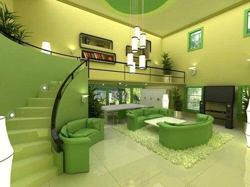 Sơn phòng khách đẹp với họa tiết màu xanh lá cây
