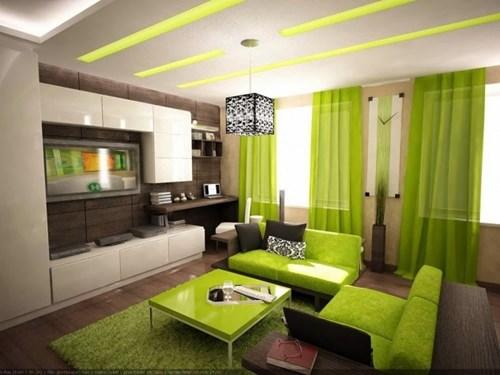 Sơn phòng khách với họa tiết màu xanh lá