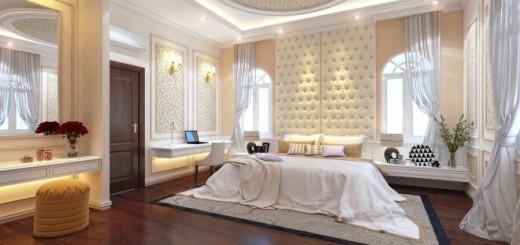 Phòng ngủ có hệ thống rèm cao làm căn phòng sáng hơn
