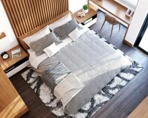Phòng ngủ rộng đặt giường gần của sổ ánh sang mặt trời thật ấm áp của ngôi nhà Sửa thêm phòng ngủ