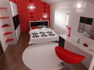 Sử dụng sơn tường mầu đỏ và ghế mầu đỏ ấn tượng