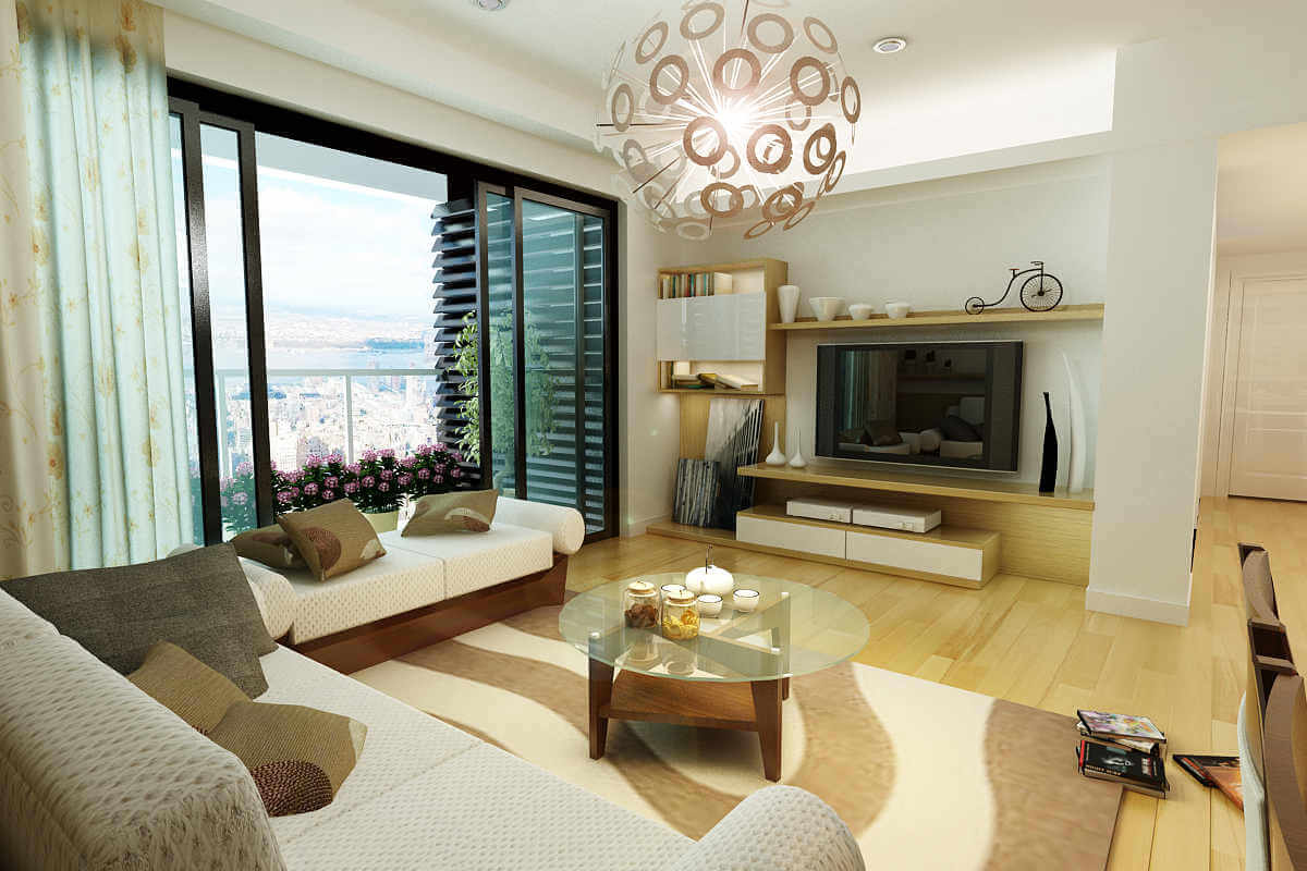 Sửa chữa phòng khách chung cư mới mẻ hơn nhờ thêm phụ kiện nhiều mầu sắc