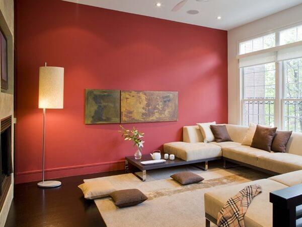 Tường mầu đỏ ở phong khách ấn tượng
