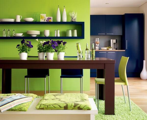 xu hướng sử dụng màu sơn xanh lá cho không gian bếp