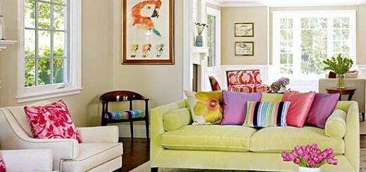 Màu sắc tươi vui cho phòng khách