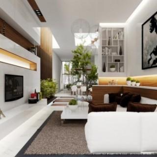 Màu sơn phòng khách đẹp sang trọng cho căn hộ lớn