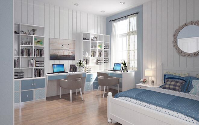 Sửa nhà 4 tầng, với hệ tủ lưu trữ làm âm tường gọn gàng, dành chỗ cho không gian học tập của hai cô gái