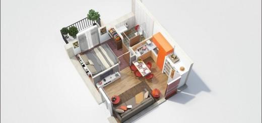 Sửa nhà với những mẫu chung cư 50m2 cho vợ chồng trẻ