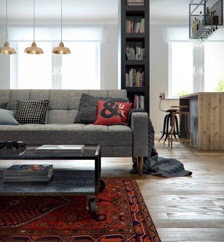 Cải tạo căn hộ 69m2 đầy sáng tạo,theo xu hướng vintage với tấm thảm, đồ nội thất ăn ý.