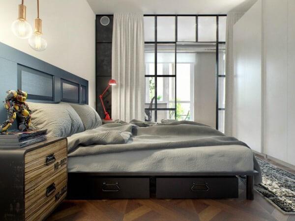 Cải tạo căn hộ 69m2 đầy sáng tạo,Phòng ngủ duy nhất trong căn hộ, nền nã trong thiết kế đơn giản.