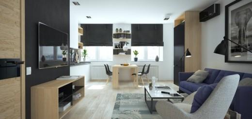 Cải tạo căn hộ 51m2 một phòng ngủ đẹp sang trọng