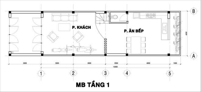 Thiết kế nhà ống, tầng 1 dành 3m phía trước làm sân, còn phía sau chừa lại 1m cho thông thoáng