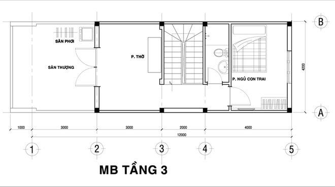 Thiết kế nhà ống, Phòng thờ, phòng ngủ con trai, khu giặt phơi trên tầng 3