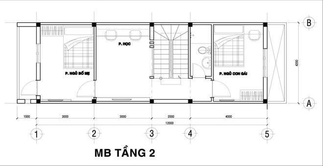 Thiết kế nhà ống, Phòng ngủ cho bố mẹ, phòng học (làm việc) và phòng ngủ của con gái bố trí trên tầng 2