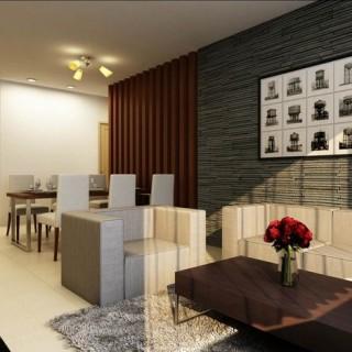 Phòng khách kết hợp với bếp và bàn ăn tiện nghi hiện đại